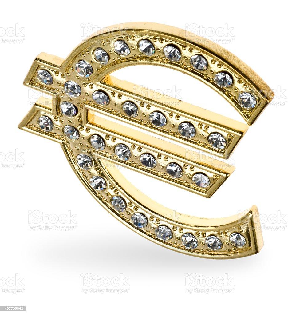 goldenes Eurozeichen mit Diamanten besetzt stock photo