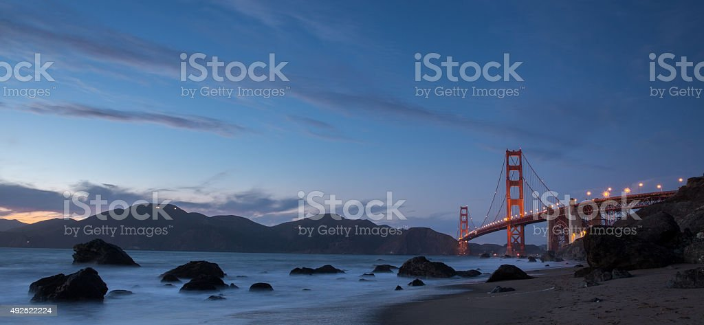 Golden-Gate Bridge at Dusk. Marshall's Beach, San Francisco stock photo