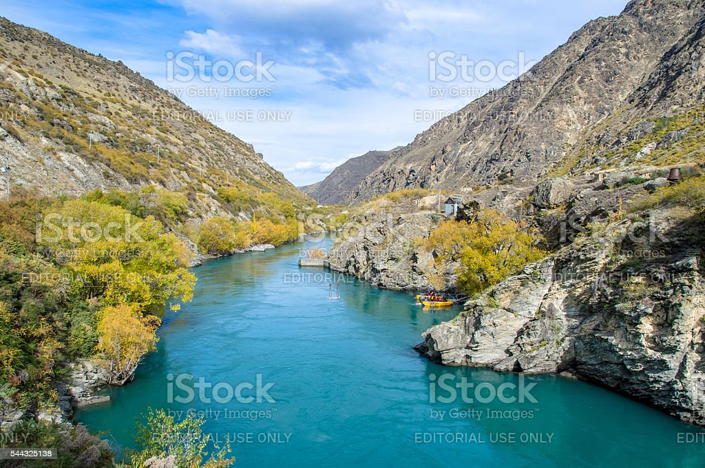 Goldfields jet ride on the Kawarau River in New Zealand. stock photo