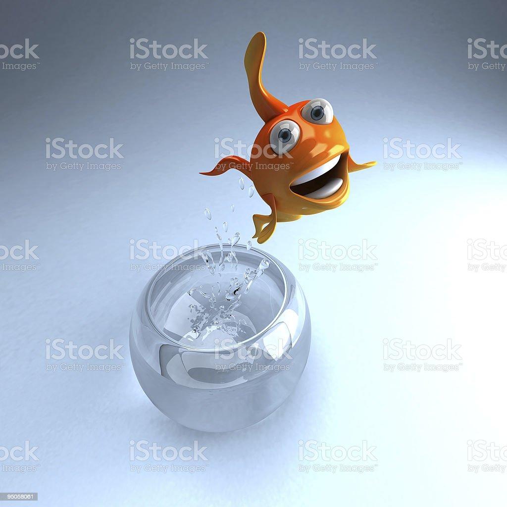 Goldfish jumping stock photo