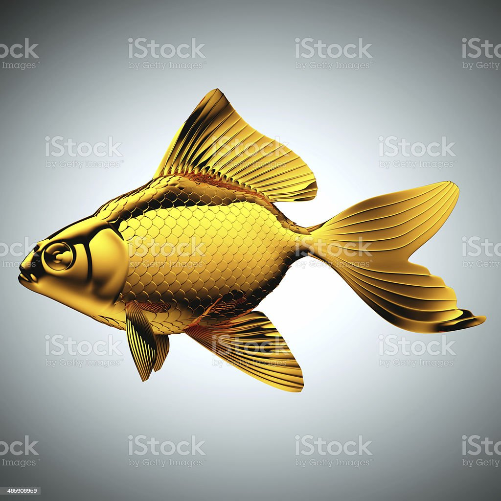 Goldfish made of gold on gray royalty-free stock photo