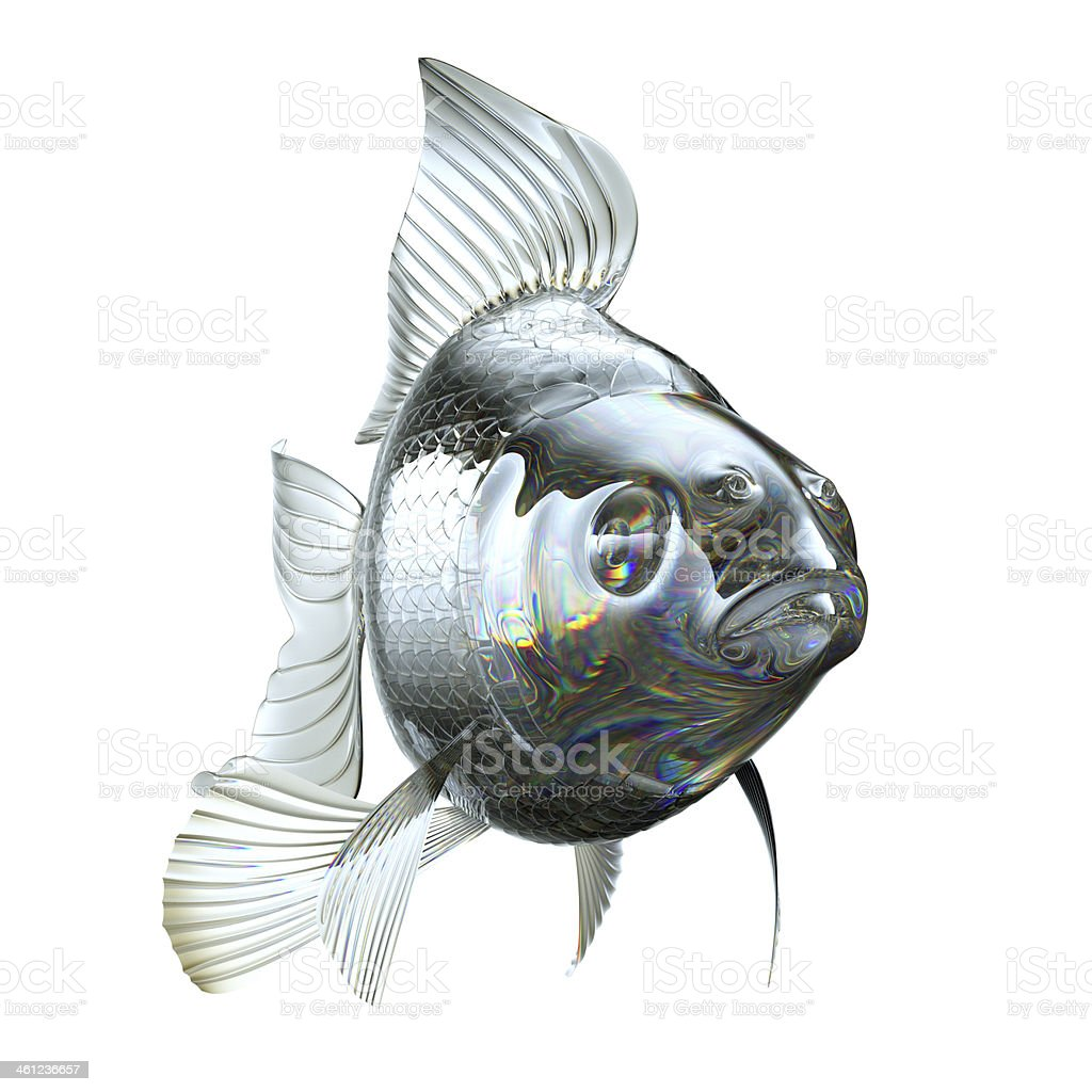 Goldfish made of semitransparent glass isolated royalty-free stock photo