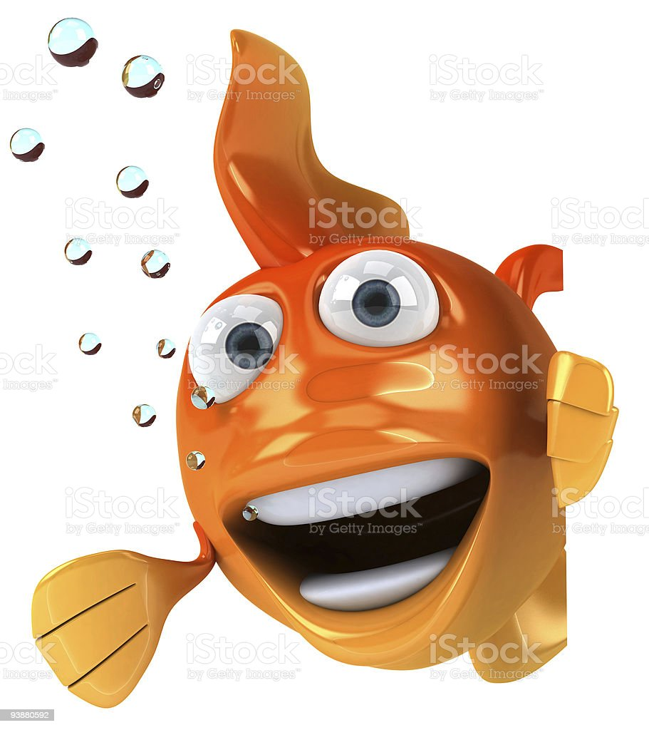Goldfish with a blank sign stock photo