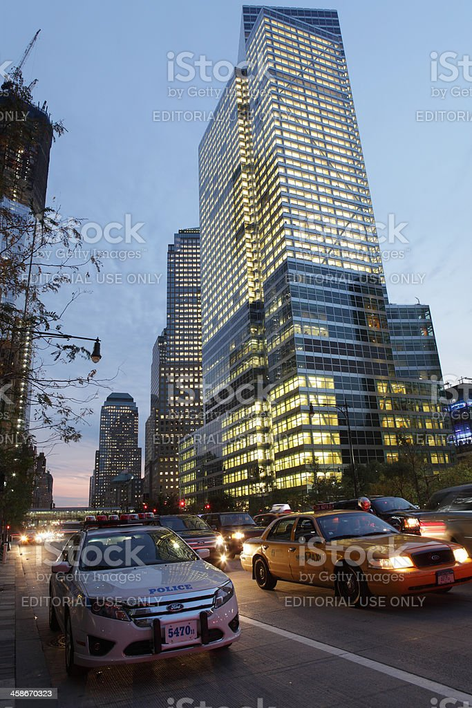 Goldman Sachs global headquarters NYC and West Street stock photo