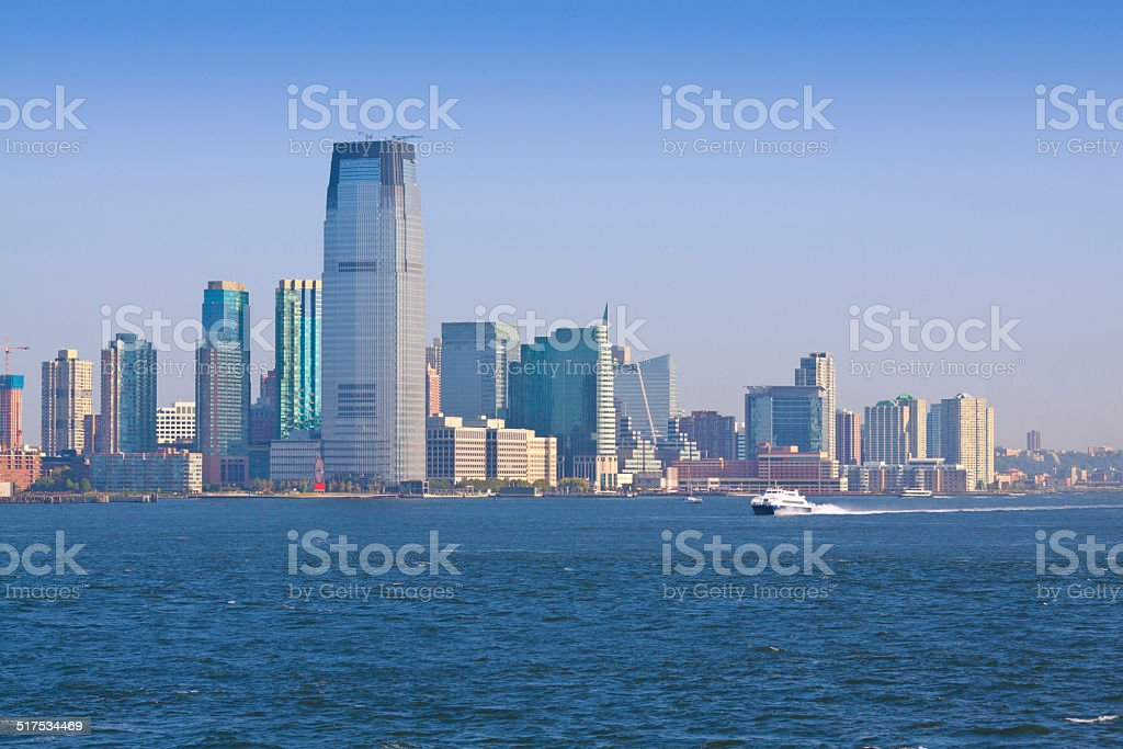 Goldman Sachs Tower and Jersey City Skyline. stock photo