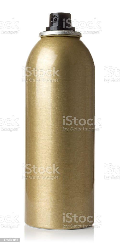 Gold-metallic aerosol can stock photo