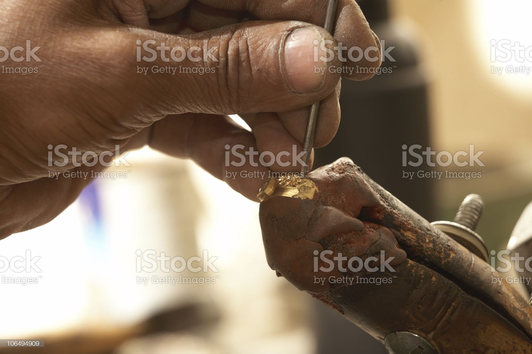 Goldsmith and diamond ring royalty-free stock photo