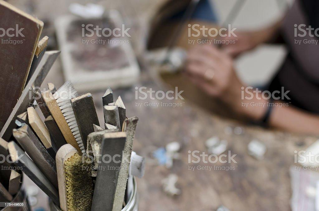 Goldsmith tools stock photo