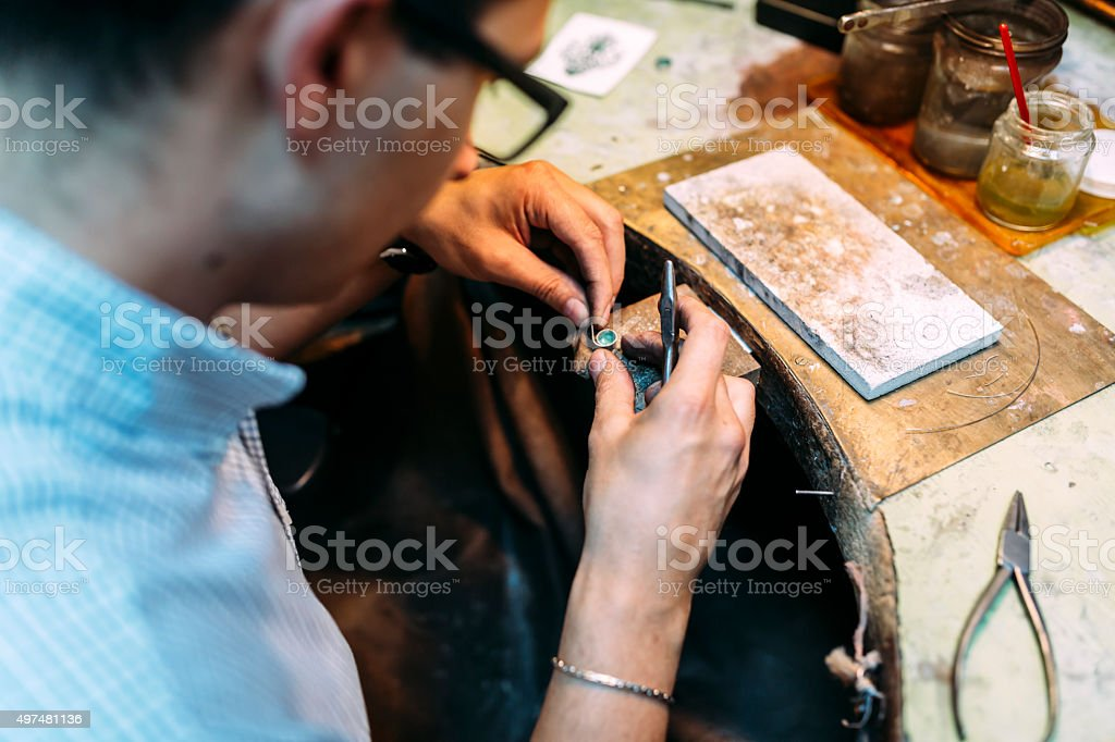 Goldsmith working stock photo