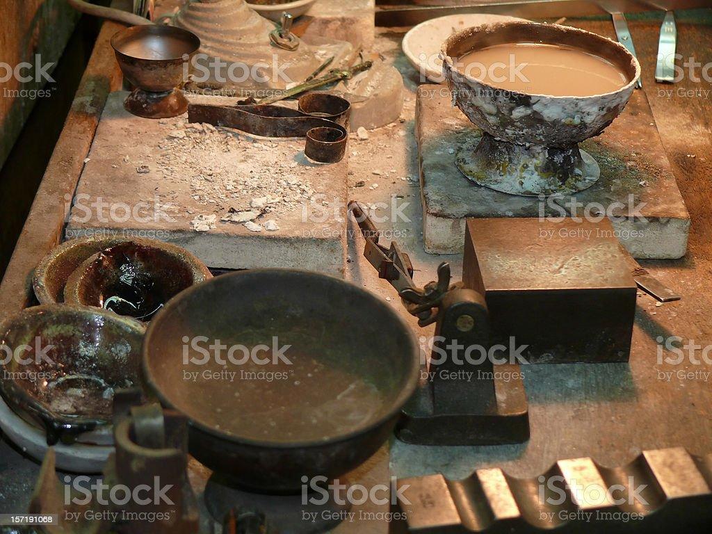 goldsmiths workbench stock photo