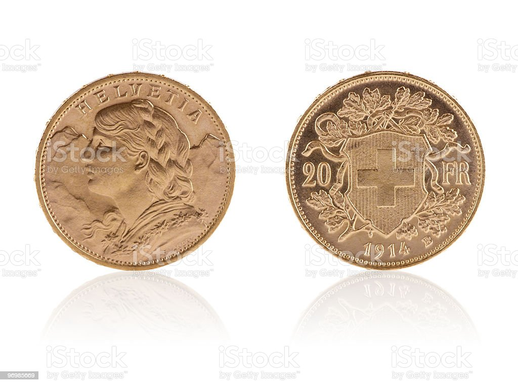 Goldvreneli – Swiss gold coins royalty-free stock photo