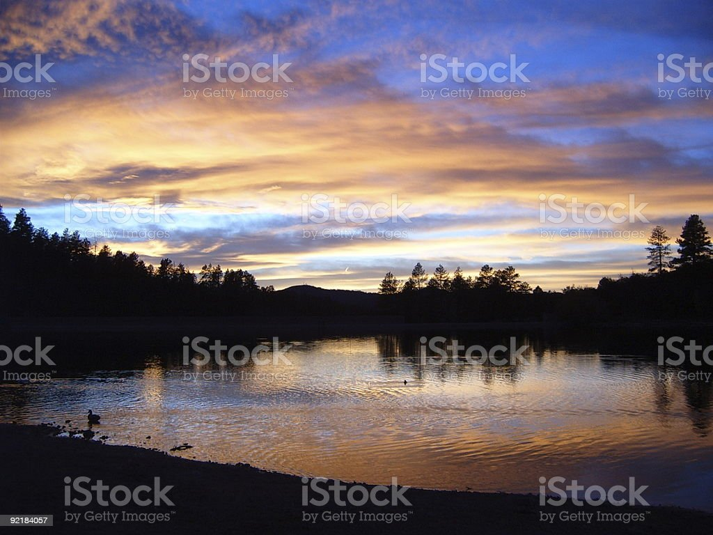 Goldwater Lake Sunset 3 stock photo