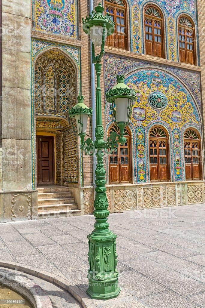 Golestan Palace green lamp stock photo