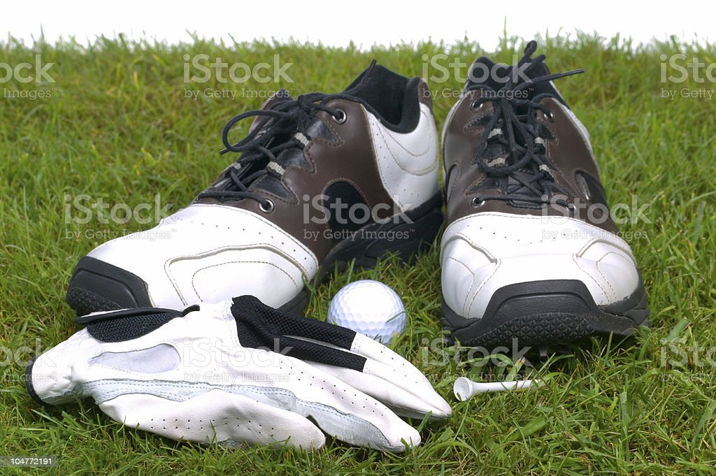 Golf accessories on grass stock photo