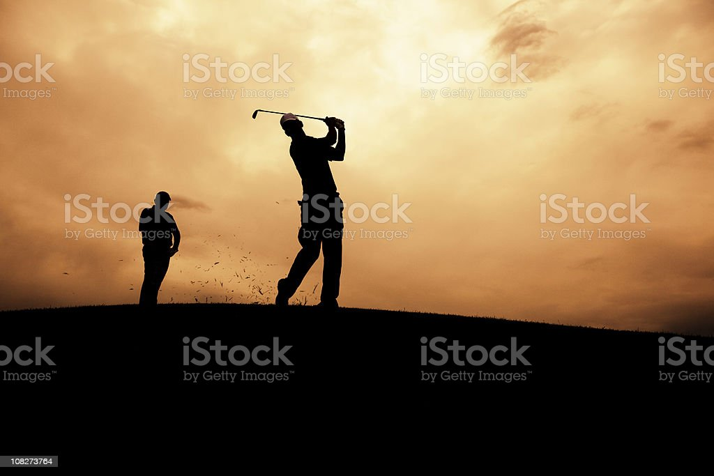 Golf Action Silhouette royalty-free stock photo