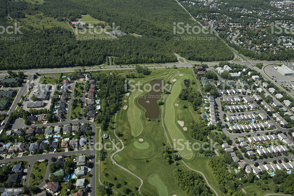 Golf and Homes Aerial royalty-free stock photo
