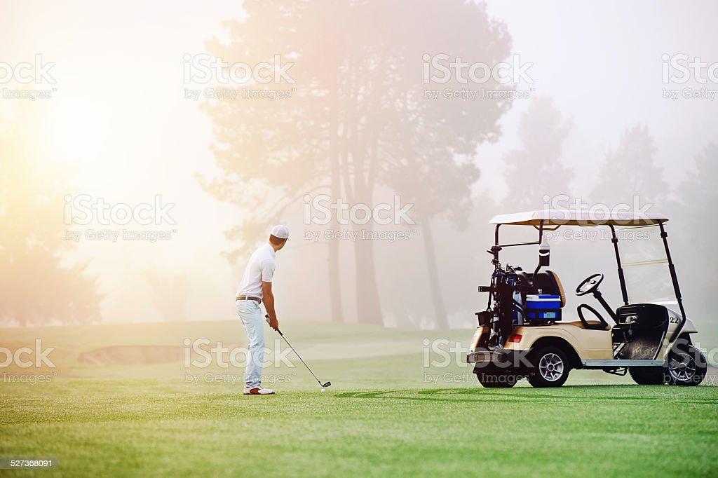golf approach shot stock photo