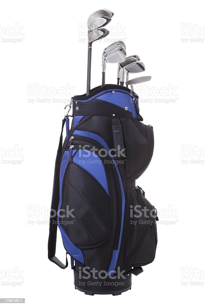 Golf bag and clubs isolated on white royalty-free stock photo