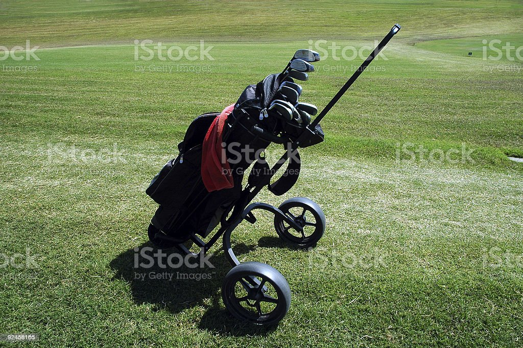 golf bag and clubs royalty-free stock photo