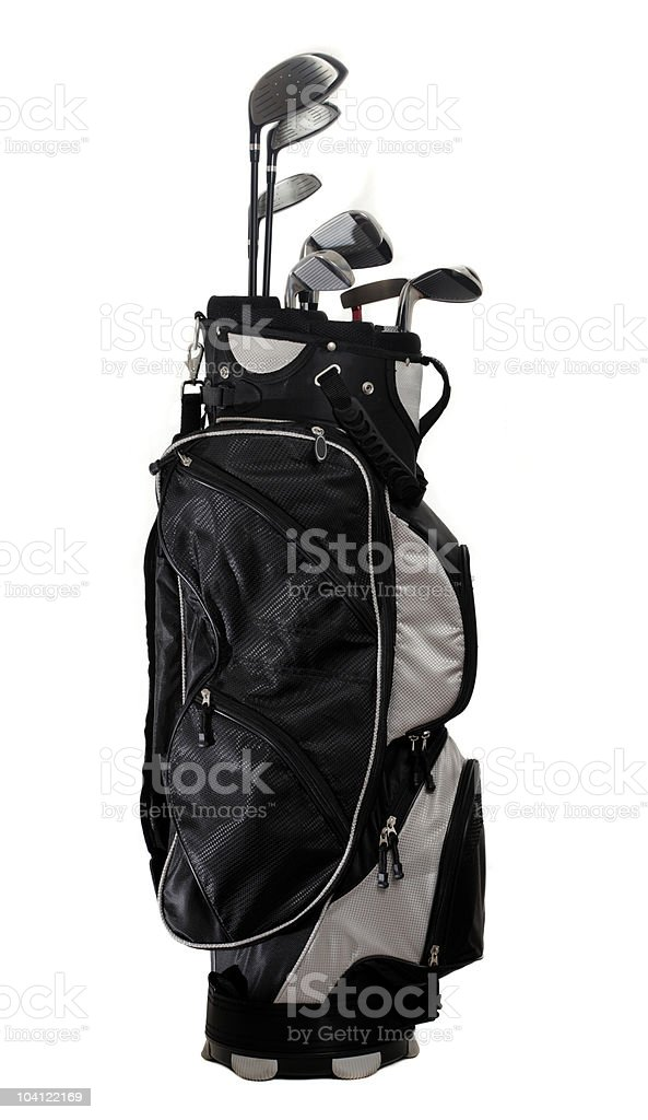 Golf bag full of clubs on a white background stock photo