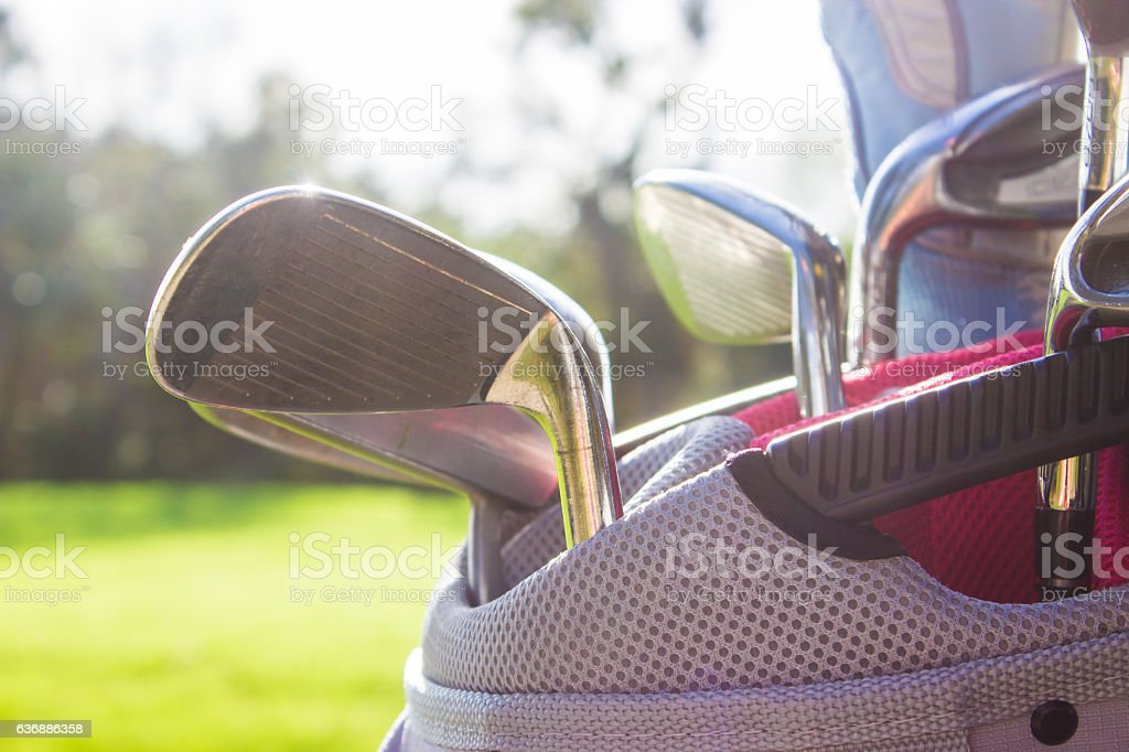 Golf Bag Full of Clubs stock photo