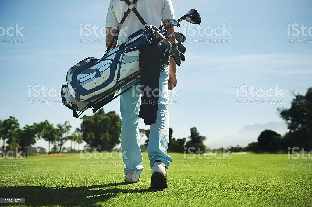 golf bag man stock photo