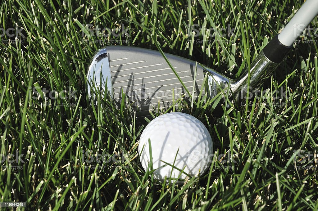 Golf Ball and Club in Long Grass royalty-free stock photo
