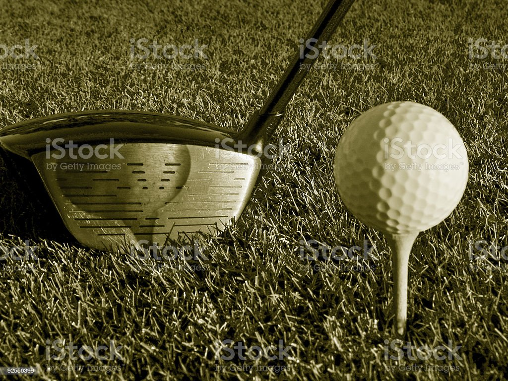 Golf Ball and Driver Sepia royalty-free stock photo