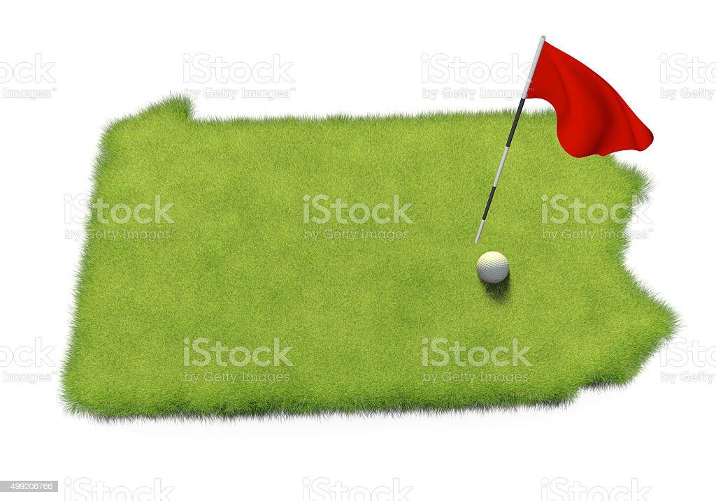 Golf ball and flag on course shaped like Pennsylvania stock photo