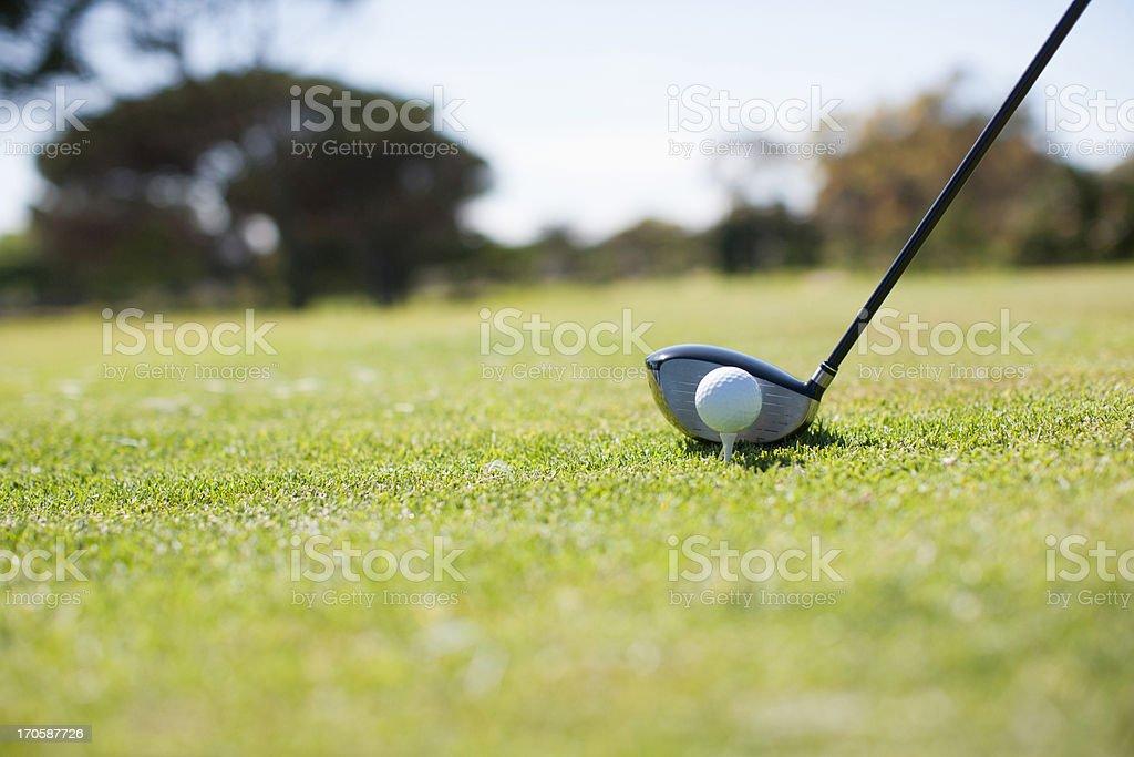 Golf ball and golf club stock photo