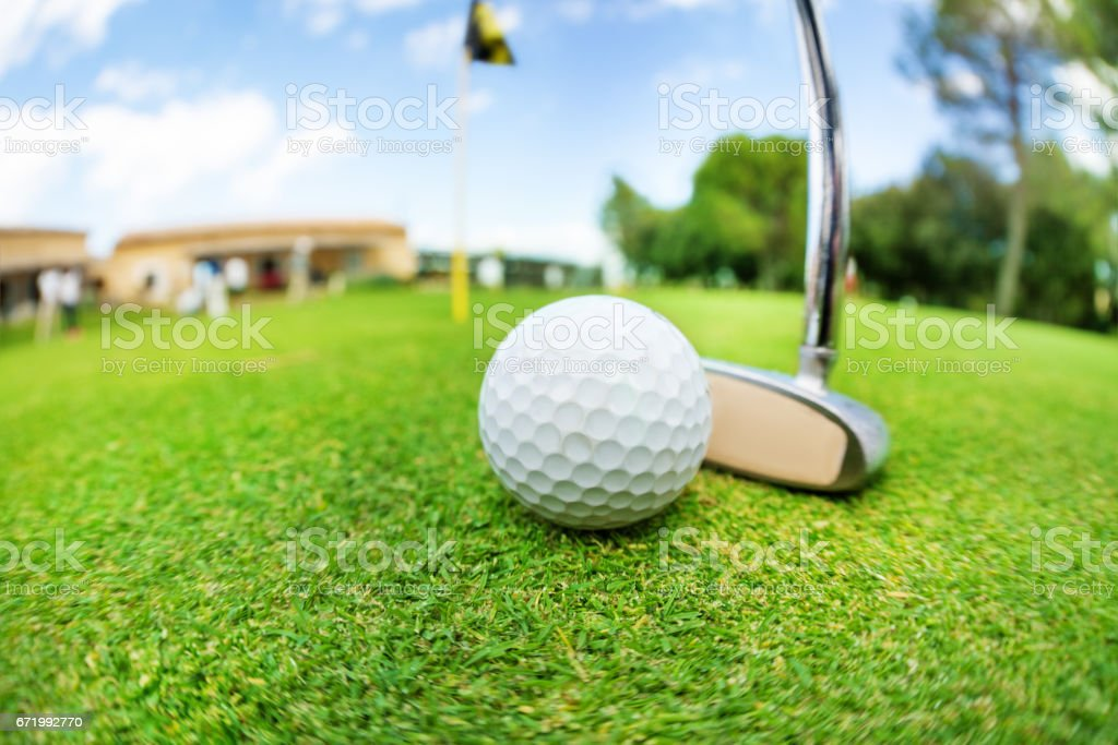 Close-up picture of golf ball and niblick ready to swing on the...