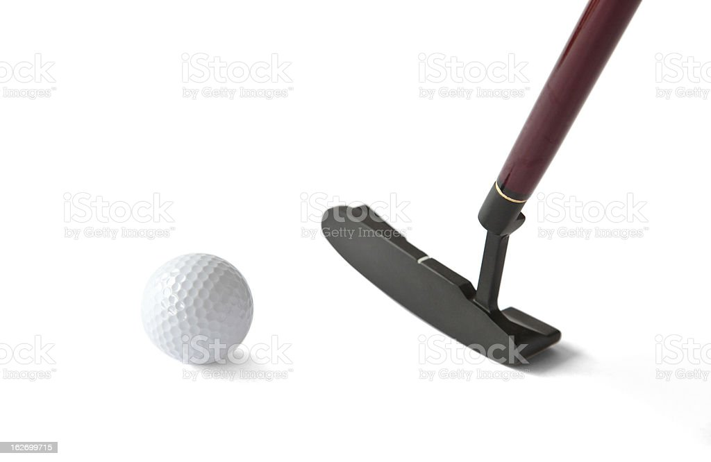 Golf Ball and Putter Stick royalty-free stock photo
