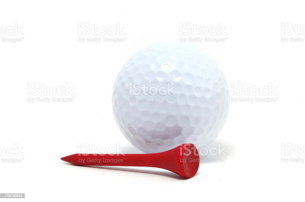 Golf Ball and Red Tee stock photo