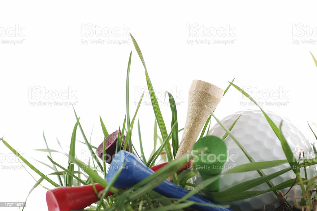Golf ball and tees royalty-free stock photo