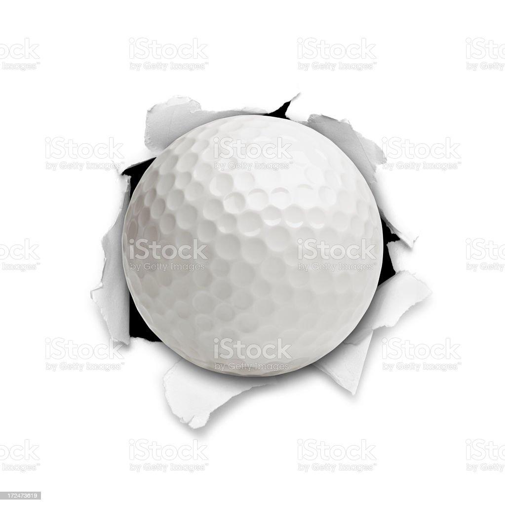Golf Ball Bursting Though a Hole stock photo