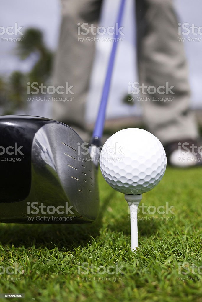 Golf Ball, Driver and Tee Closeup royalty-free stock photo