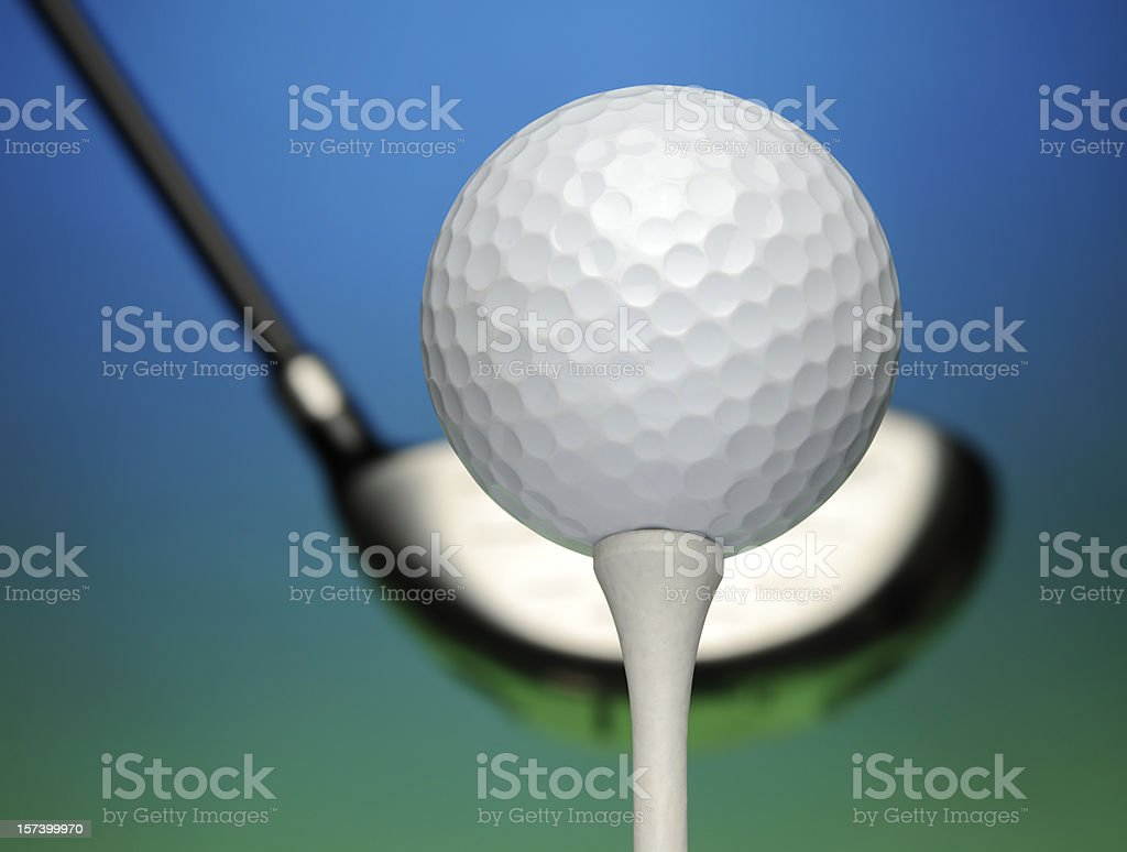 Golf Ball, Driver, Tee, Close-Up, Blue Sky, Green Grass, Course stock photo