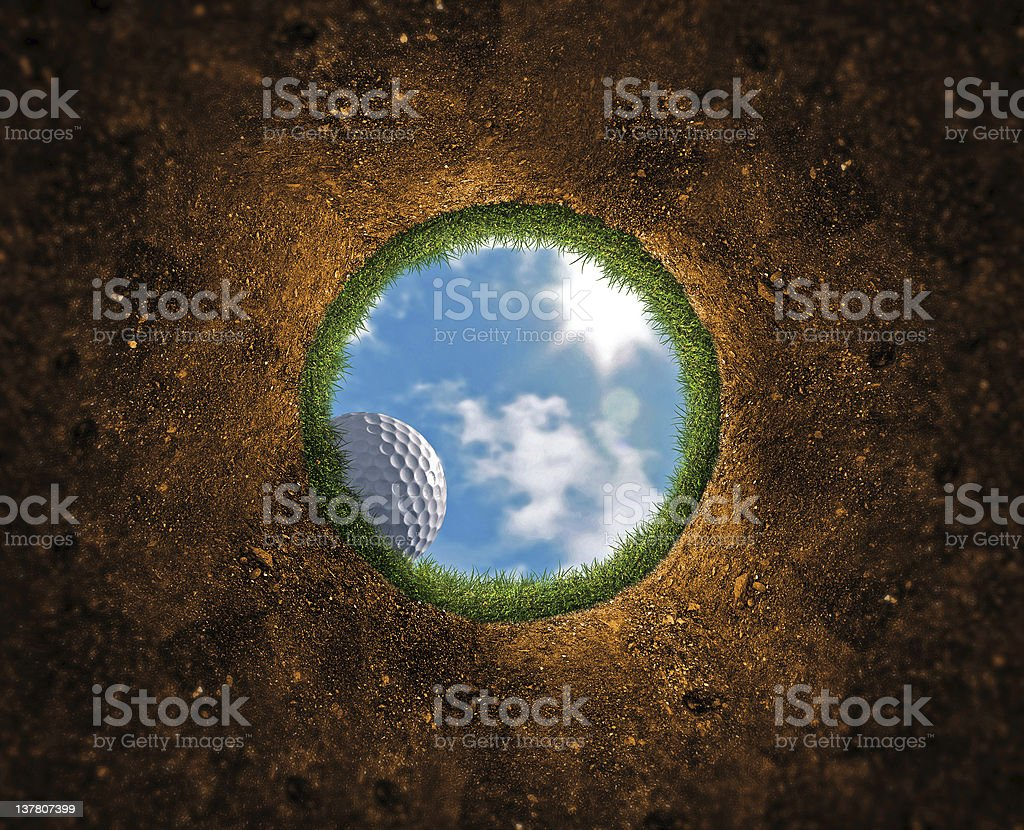 Golf Ball Falling stock photo