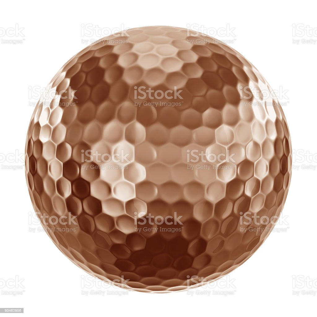 Golfball in bronze royalty-free stock photo