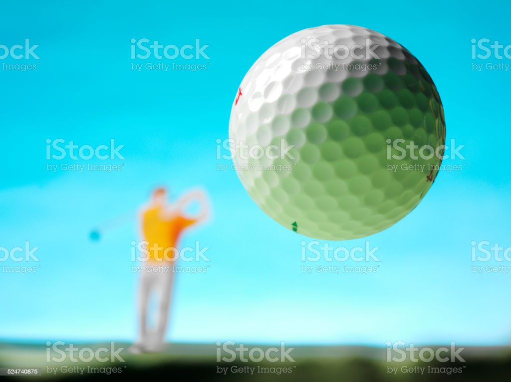 Golf Ball in the Air stock photo