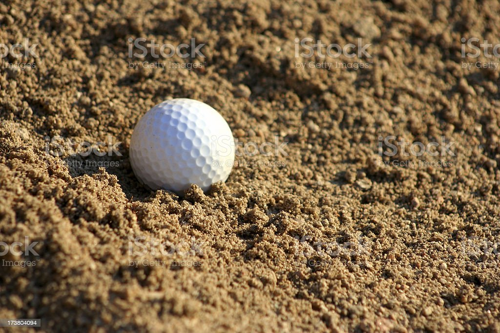 Golf- Ball in the Bunker royalty-free stock photo
