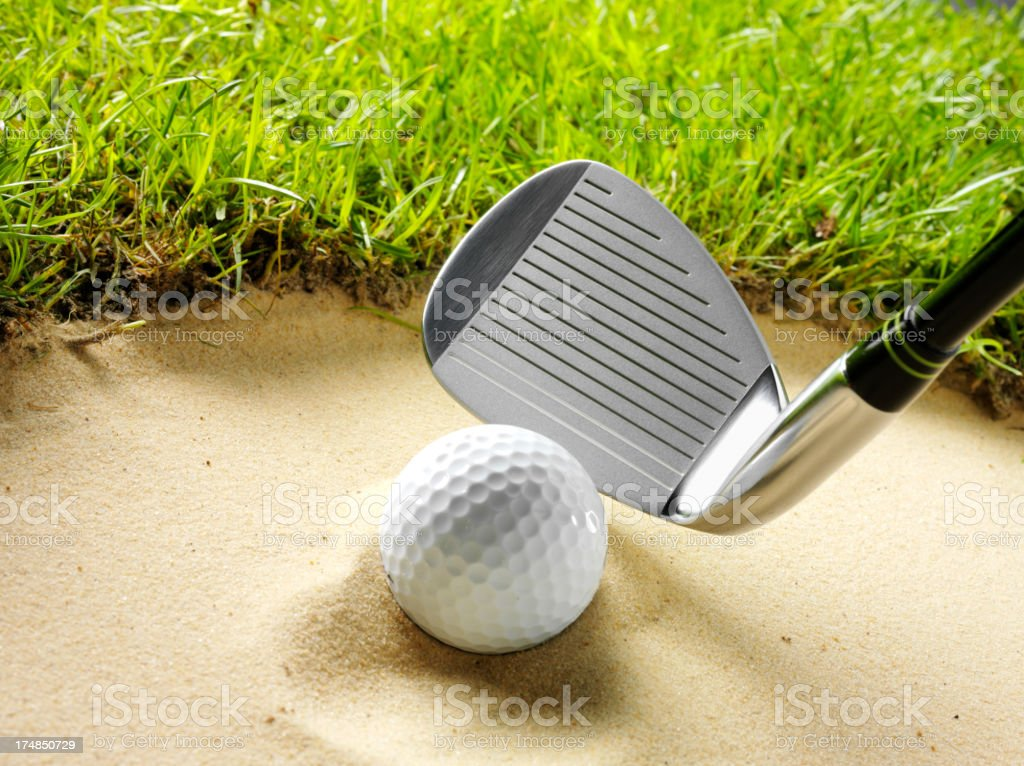 Golf Ball in the Bunker royalty-free stock photo