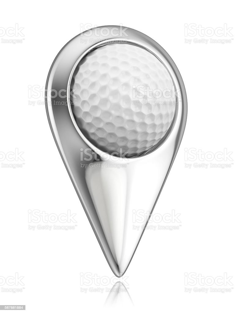 Golf ball in the pointer stock photo