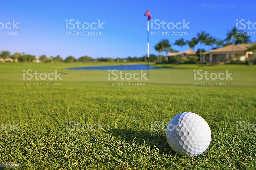 golf ball lies near green of lovely tropical course stock photo