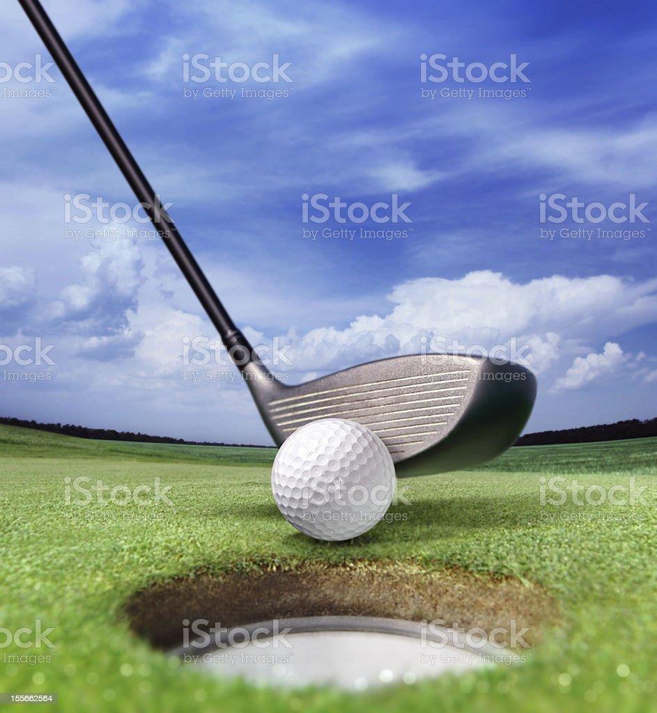 golf ball near bunker stock photo