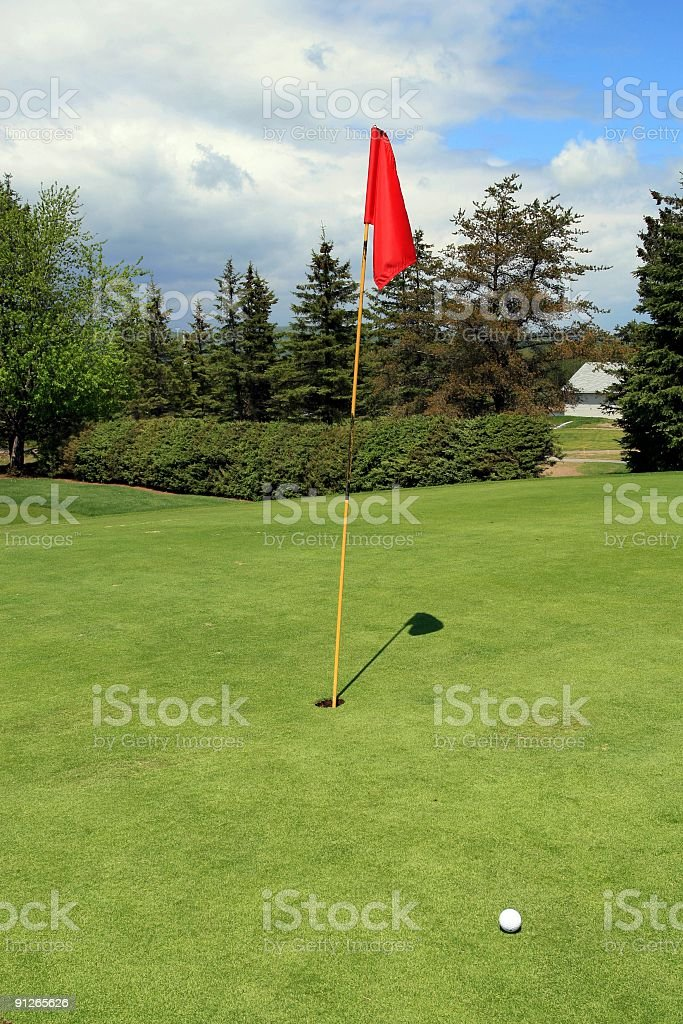 Golf Ball Next to Hole and Flag on Putting Green royalty-free stock photo