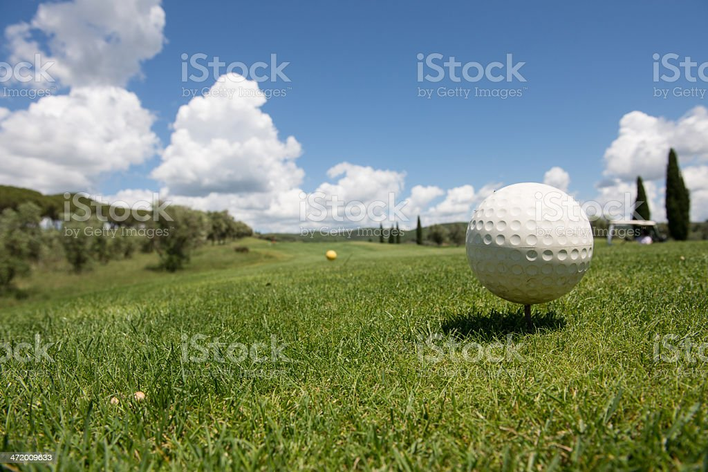 Golf ball on a green in Tuscany stock photo