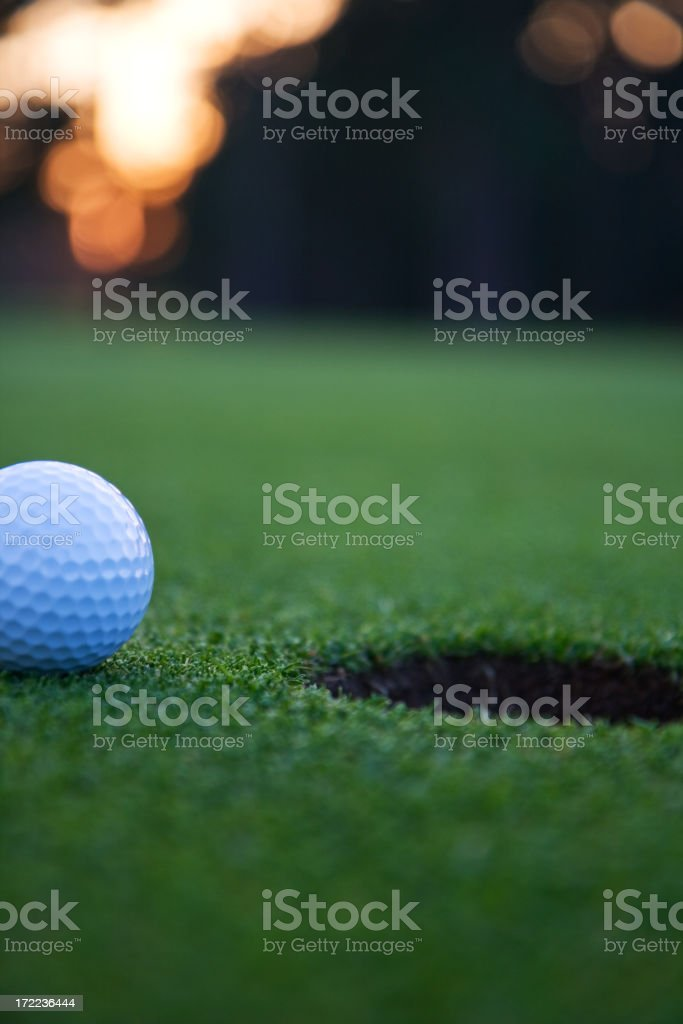 Golf ball on a green royalty-free stock photo