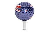 golf ball on a tee with flag of New Zealand