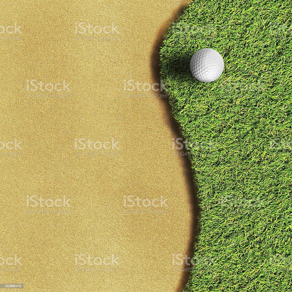 Golf ball on green grass field stock photo